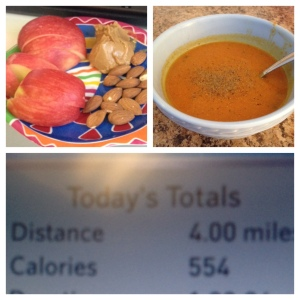 M2 (left): Apple with 1.5 tbsp nut butter and handful of almonds  M5 (right): TIU Pumpkin Carrot Soup PMWO (bottom): 4 mile interval run for a total of 554 calories and Bikini Arms, planks